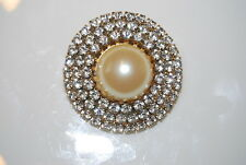 White Rhinestones And Faux Pearl Center Vintage Large Gold Toned Metal Pin With