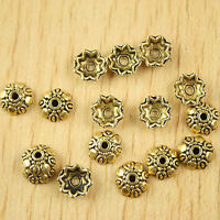 60pcs dark gold-tone flower spacer beads h2293