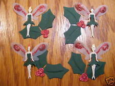 Yule Christmas Fairy Fairies with wings & Holly Woodland Garden Die Cuts Toppers