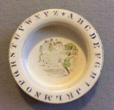 """Antique c.1900 D E McNicol Child Baby Plate Stoneware Bowl """"Ride a-Cock Horse"""""""
