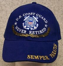 Embroidered Baseball Cap Military Coast Guard Never Retired NEW 1 size fits all