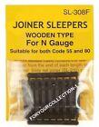 PECO SL-308F N-Scale Code-80/55 Extra Track Ties (24) Brown Wooden Sleepers