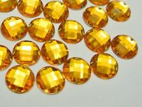 100 Gold Flatback Acrylic Rhinestone Round Sewing Button 14mm Sew on beads
