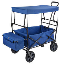 Folding Utility Outdoor Wagon with Canopy, Rubber Tire Garden Shopping Toy Cart