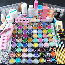 78 Acrylic UV Gel Cleanser Plus UV Primer Glitter Nail Art Brush Set Kit Tips