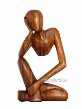 "12"" Wooden Hand Carved Abstract Thinking Statue Wood Thinker Sculpture Figurine"