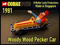 Corgi Woody Wood Pecker Car 1981 - Walter Lantz Productions Made in Singapore