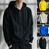 Mens Winter Long Sleeve Hoodie Plus Size Outwear Pullover Fitness Sweatshirts