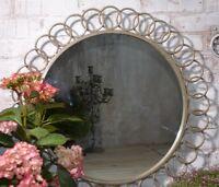 Flurspiegel Wandspiegel Metall Spiegel Vintage Silber Sonnen Sunburst 80x80 Rund
