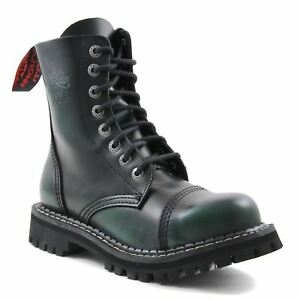 Angry Itch 8 Hole Punk Green Rub Off Leather Combat Boots Ranger Steel Toe Side