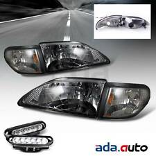 1994-1998 Ford Mustang Smoke Headlights + LED Fog Lamps
