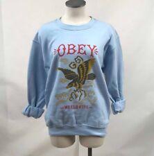 Obey Women's Crew Sweatshirt Eagle Soar Light Blue Size S NEW Shepard Fairey