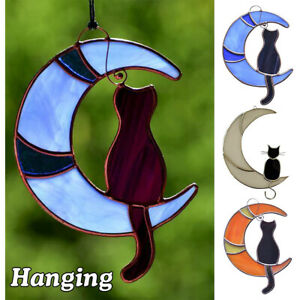 Black Cat On The Moon Stained Glass Window Hanging Suncatcher Cat Lover Gift New