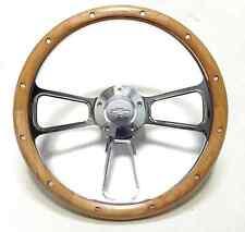 "Hot Rod Street Rod Rat Rod Chevy 14"" Billet & Real Alderwood Steering Wheel"