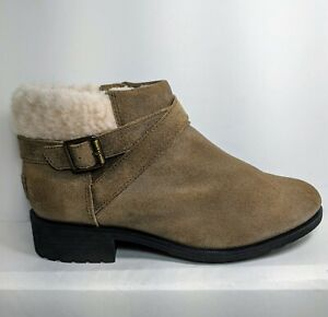 UGG Benson Beige Women's Buckle Sheepskin Ankle Booties 1095151 Sz 10