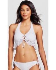 f5e9cf263b402 New Mossimo Women s White Tie Front Crochet Ruffle Halter Bikini Top Size L