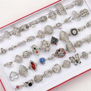 Wholesale Bulk 20pcs/lot Vintage Rhinestone Silver Plated Jewelry Ring For Women