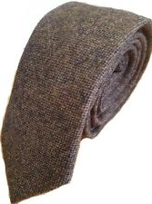 Luxury Gentlemens Country Brown Plain Tie Tweed Woven Wool Style Tartan