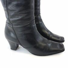 Jones Size 38 UK5 Ladies Black Leather Mid Calf Zip Up Mid Heeled Booties Boots