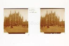 Milan Le Dôme Bella Italie Italia Plaque de verre Stéréo positive ca 1905