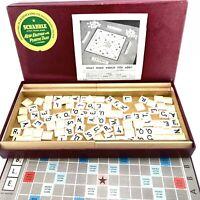 Vintage Scrabble Board Game Plastic Tiles Wooden Racks VGC