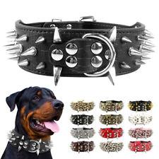 Spiked Studded Dog Collar PU Leather Adjustable for Pitbull Mastiff Rottweiler