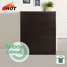 5 Drawer Tallboy Chest Bedroom Storage Walnut