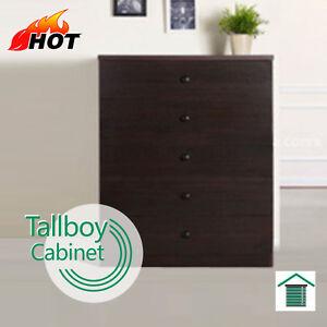 5 Drawer Tallboy Chest Bedroom Storage Walnut