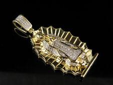 Genuine Diamond Lady of Guadalupe 10K Yellow Gold  Charm Pendant 0.30ct.