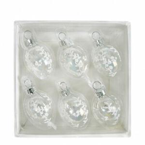 Set 6 palline per albero di NATALE in vetro trasparente con decori Mathilde M