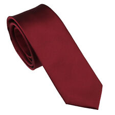 Coachella Ties Plain Burgundy Solid color Jacquard Woven Necktie Skinny Tie 6cm
