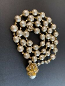 Sign Miriam Haskell Champagne pearl Baroque Rhinestone Necklace Jewelry
