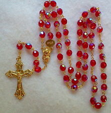 RED AB CRYSTAL ROSARY - 18K GOLD PLATED MADE IN CZECH