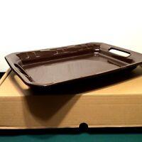 CHOCOLATE Brown HANDLED Large Serving Tray Platter Rectangular Longaberger new