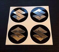 ALLOY WHEEL STICKERS 4 x 110mm Suzuki Chrome Effect centre cap badge