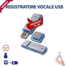 PEN DRIVE REGISTRATORE VOCALE USB 16GB MINI AUDIO RECORDER MICROSPIA SPY CIMICE