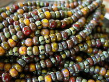 """6/0 Czech Seed Beads- Calico Corn Striped Aged Picasso Mix (1/20"""") #616"""