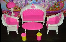 Miniatures Living Room Furniture Sofa Chair Set of 7 for Barbie Dolls Dollhouse