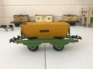 HORNBY (French) 1930s  O GAUGE SNCF SIDE TIPPING WAGON. Green  / Yellow