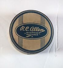 Vintage R C Allen Business Machines Small Round Box Blue Advertising Collectible
