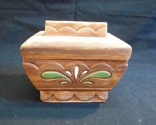 Brayton Laguna Pottery,  Calif  Tinket Box w/ Lid  Brown w/ Flowers  5 1/2x4 1/2