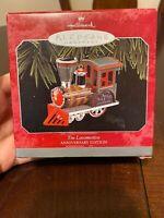 NIB 1998 Hallmark Keepsake Christmas ornament Tin Locomotive Anniversary train