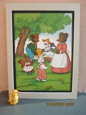 vintage illustration of Little Brown Bear and other animals on a picnic 1942