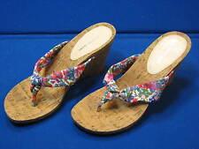 9 M Gianni Bini Floral Ladies Womens Wedge Shoes Sandals Heels Blue Pink Green 9
