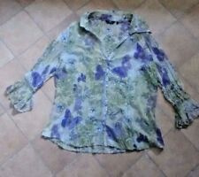 Ladies M&S Per Una green & purple butterfly blouse size 14 very good condition