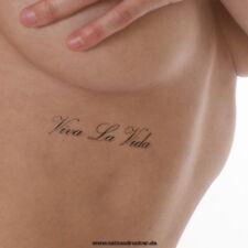 2 x Viva la Vida Tattoo Schriftzug in schwarz - einmal temporäres Tattoo