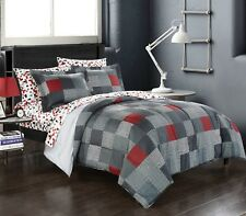 Minecraft Bedding Comforter Set Bed in a Bag Geo Reversible Gray Red Twin Size