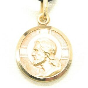 SOLID 18K YELLOW GOLD JESUS CHRIST REDEEMER 17 MM MEDAL, PENDANT, MADE IN ITALY