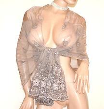 STOLA BEIGE TORTORA coprispalle 50% SETA scialle foulard ricamato étole sjal A30