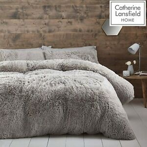 Catherine Lansfield Cuddly Silver Duvet Cover Set Deep Winter Bed Set